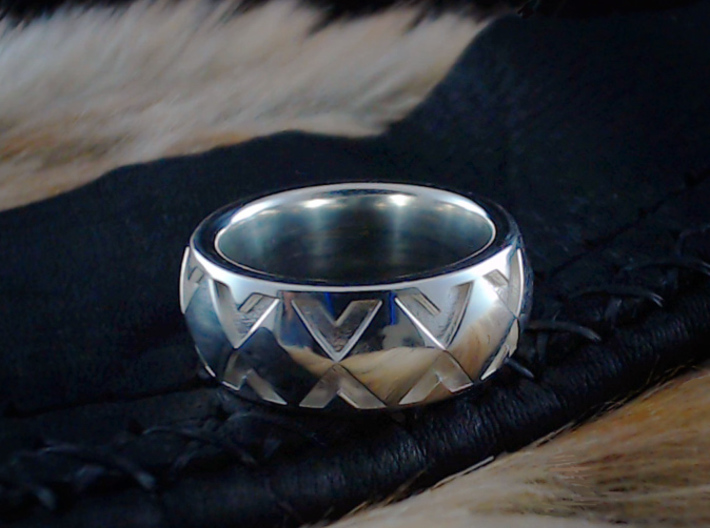 Snake Ring / Diamondback - Size 9  1/2 (19.35 mm) 3d printed Shown in Polished Silver
