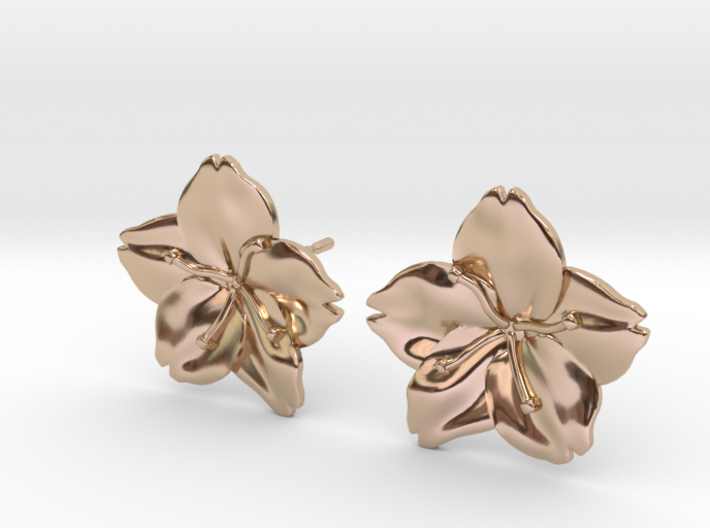 Sakura Stud Earrings 3d printed