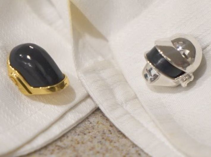 Daft Punk Cufflink Visors and Studs 3d printed Full assembled set shown