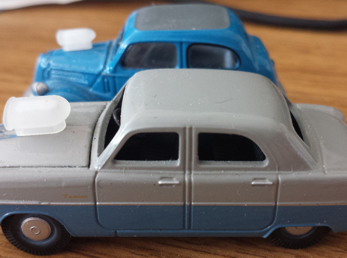 1:43rd scale 70s style custom car hood scoops 3d printed 1:76th scale versions test fitted to Oxford Diecast models.