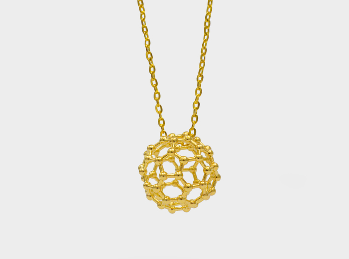 Buckyball C60 Molecule Necklace 3d printed Buckyball Necklace Gold