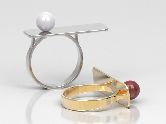 Anniversary ring with Pearl - RS000100091 3d printed