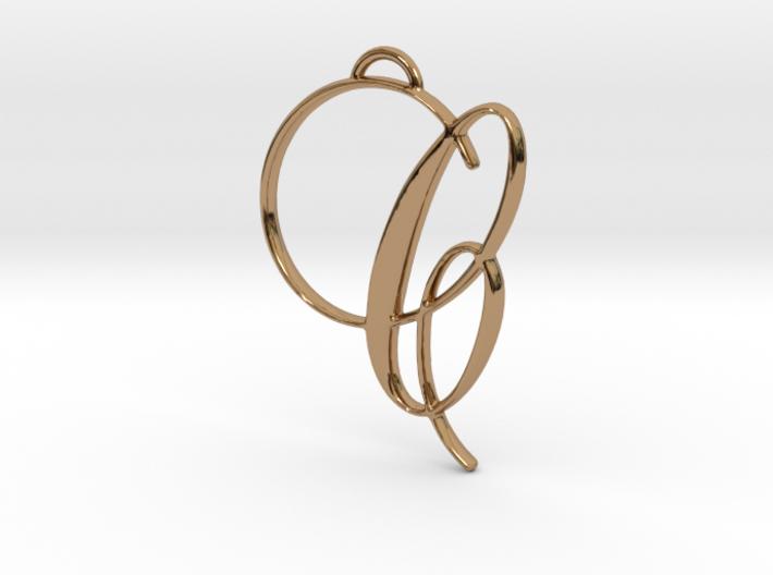 Elegant Script Monogram C Pendant Charm 3d printed