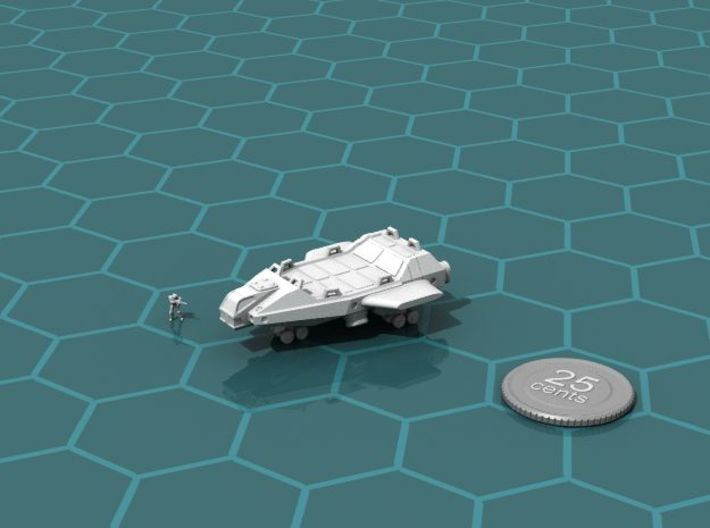 Heavy Lifter 3d printed Render of the model, with a virtual quarter for scale.