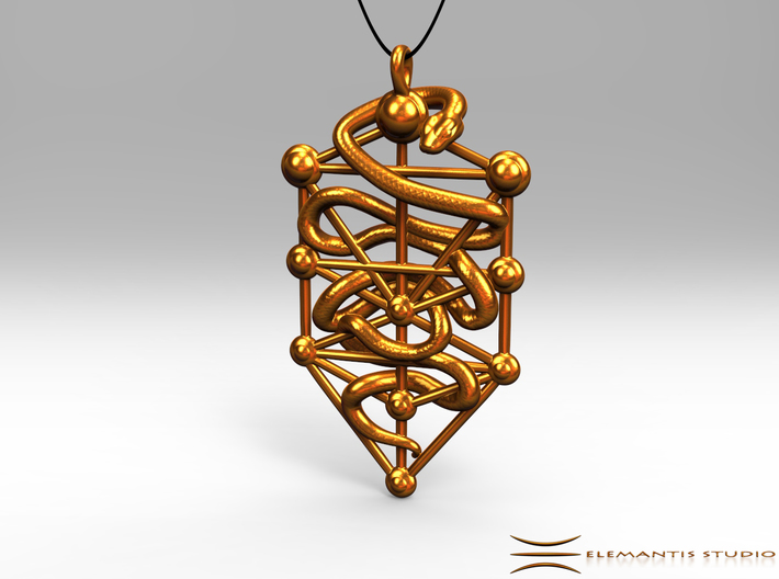 Kabbalah Serpent Pendant 6.5cm 3d printed Pendant cord not included