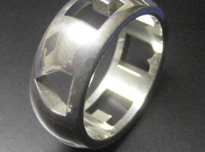 "I ""Heart"" U ring 3d printed From a standard perspective the cutouts looks like random shapes. (Silver material shown)"
