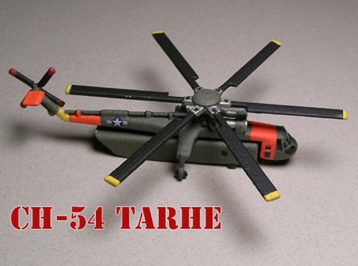 Sikorsky CH-54 Tarhe (with cargo pod) 1/285 6mm 3d printed Sikorsky CH-54 Tarhe with pod painted by Fred O.