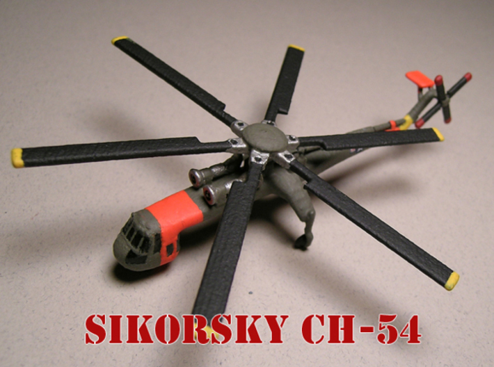 Sikorsky CH-54 Tarhe 1/285 6mm 3d printed Sikorsky CH-54 Tarhe (no pod) painted by Fred O.