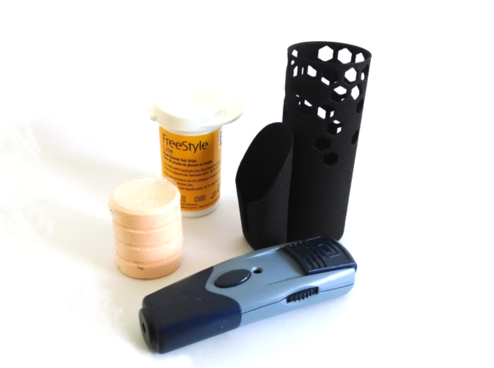 Test Strips, Lancet, and Glucose Organizer. 3d printed Organize your FreeStyle test strips, lancet device, and 4 glucose tablets.