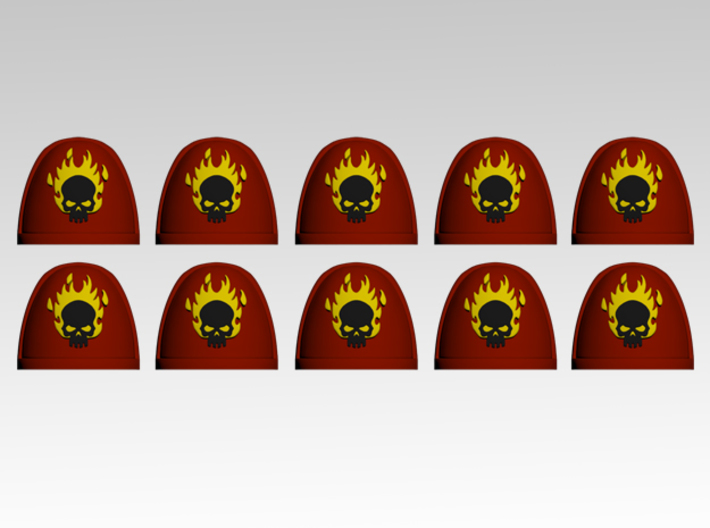 Skull & Flames 2 V.7 Shoulder Pads x10 3d printed Product is sold unpainted.