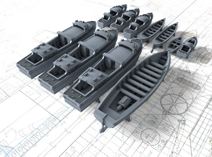 1/350 HMS Duke of York Boat Set 3d printed 3d render showing set