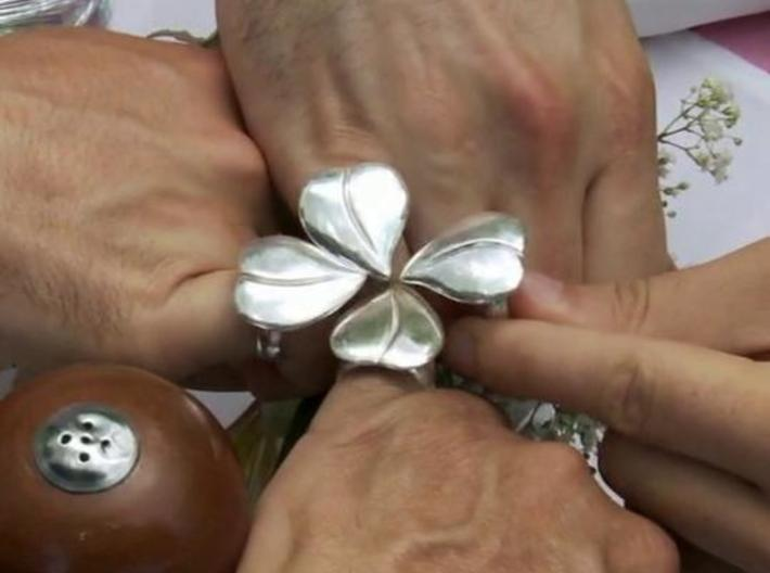 silver cz on luulla four leaf clover sterling product rings hugerect gold rose ring