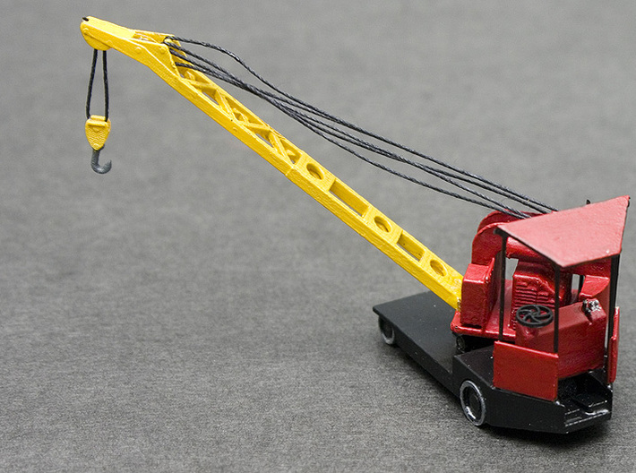 Elwell-Parker 1 Ton Crane HO Scale (1:87) 3d printed Painted and Assembled version of the Elwell-Parker crane in HO Scale, complete with thread rigging (need thinner thread than i had).
