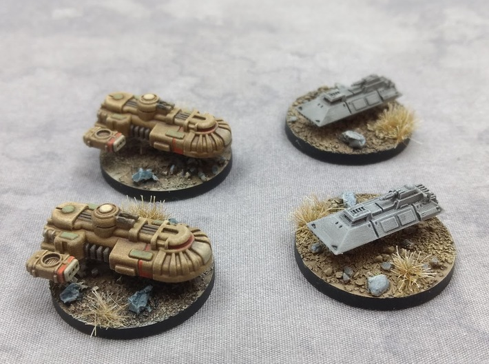 1/270 Imperial 1-L Tanks (2) 3d printed Shown with Rebel T1B tanks.