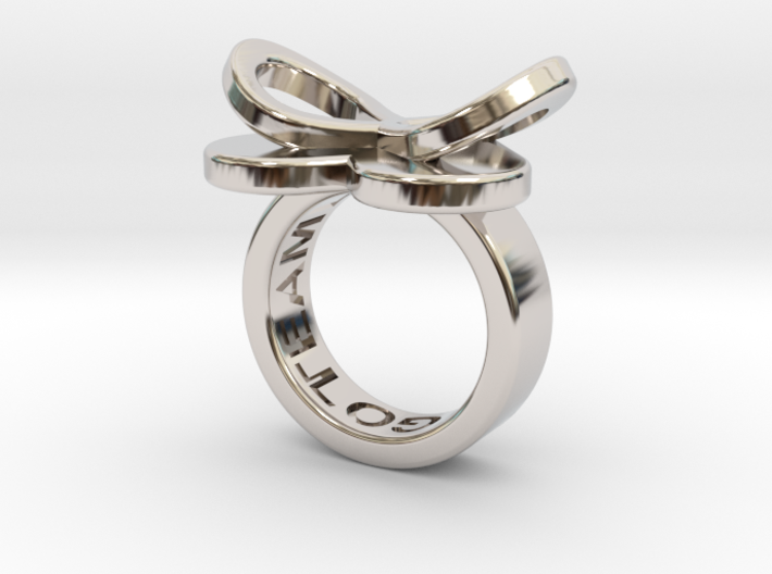 AMOUR petite in rhodium plated 3d printed
