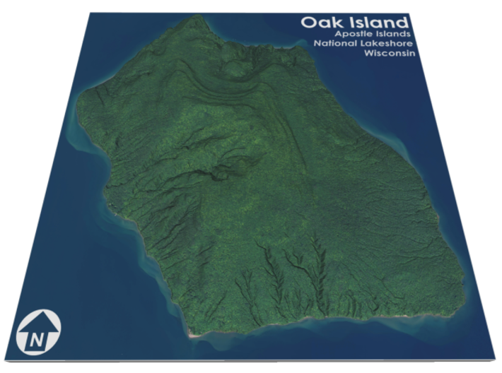 Oak Island Aerial Map: 5 Inch 3d printed