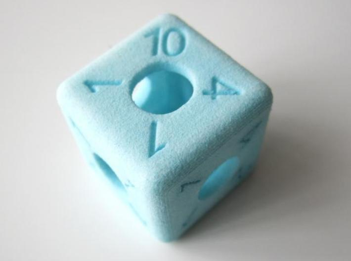 Average D6 Hollow Dice 3d printed Dyed (other view)