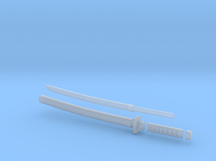 Wakizashi - 1:6 scale - Curved Blade - Tsuba 3d printed
