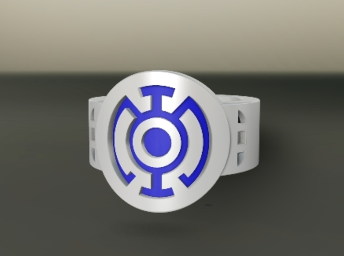 Blue Hope FF Ring Sz 9 3d printed Custom Enameled