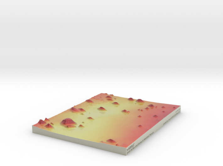 Mars Map: Small Buttes and Dunes in False Red 3d printed