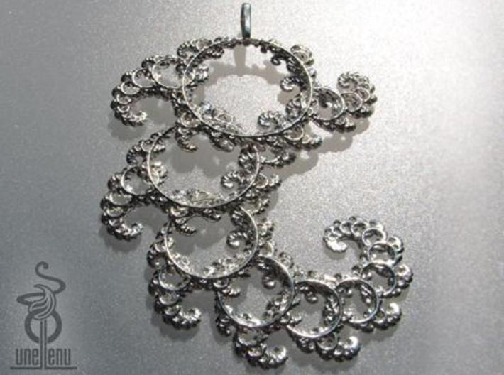 9cm Fractal lace, intricate spirals pendant 3d printed