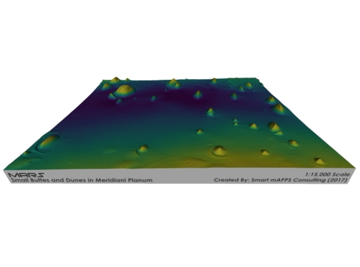 Mars Map: Small Buttes and Dunes in Viridis 3d printed