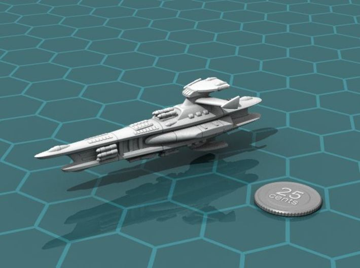 Novus Regency Missile Cruiser 3d printed Render of the model, with a virtual quarter for scale.