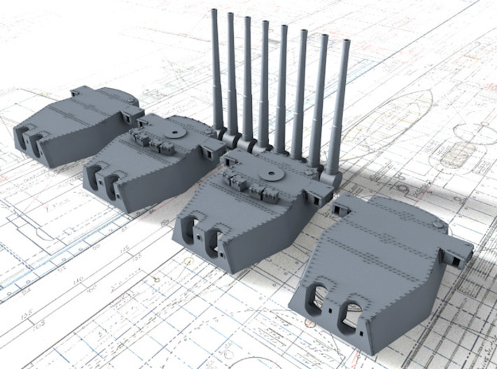 """1/700 Scale Royal Navy Twin 16"""" Guns x4 3d printed 1/700 Scale Royal Navy Twin 16"""" Guns x4"""