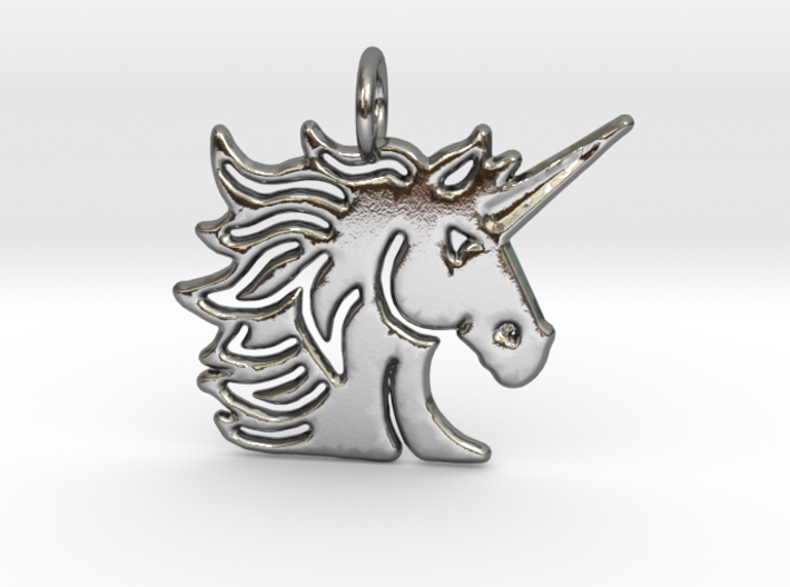 Masculine Unisex Unicorn pendant 3d printed