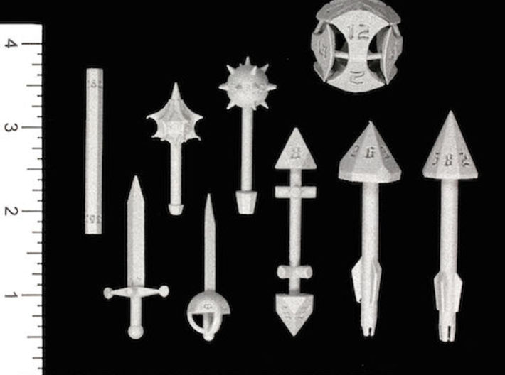 Shortsword D6 3d printed Image courtesy of Kevin Cook, www.dicecollector.com .  Other weapons also shown.
