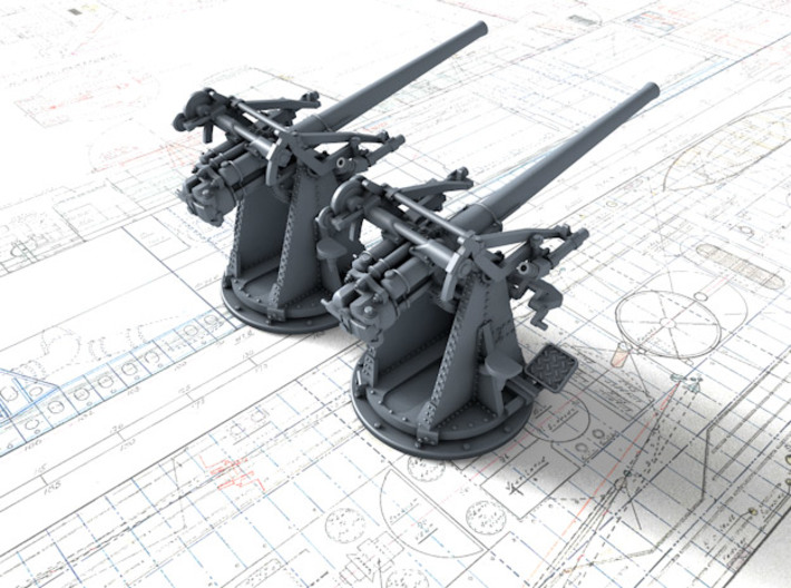 "1/144 12-pdr 3""/45 (76.2 cm) 20cwt Guns x2 3d printed 3d render showing product detail"