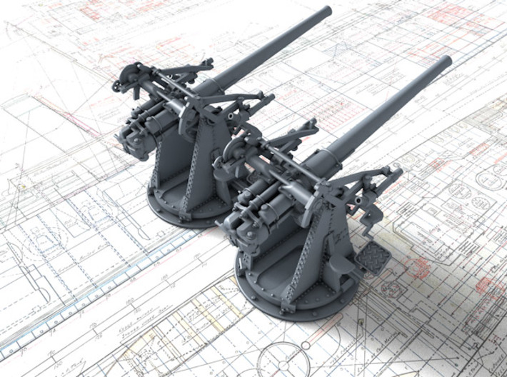 """1/72 12-pdr 3""""/45 (76.2 cm) 20cwt Guns x2 3d printed 3d render showing product detail"""