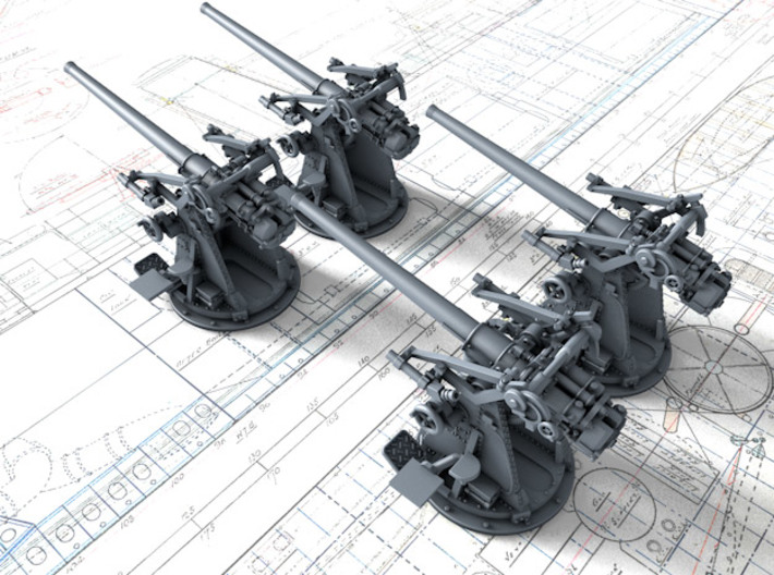 """1/350 12-pdr 3""""/45 (76.2 cm) 20cwt Guns x4 3d printed 3d render showing product detail"""