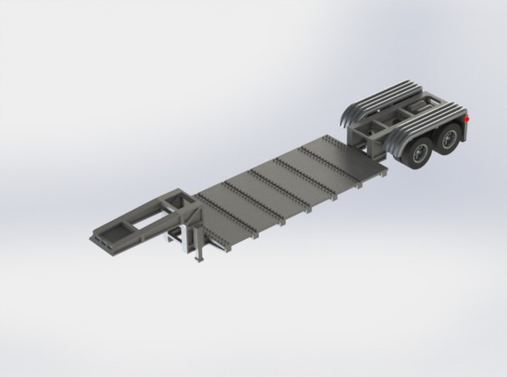 N scale 1/160 Lowboy Heavy Duty 3d printed CAD render showing deck plates/rivets.