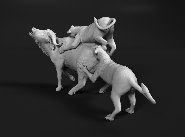 Cape Buffalo 1:12 Attacked by Lions 3d printed