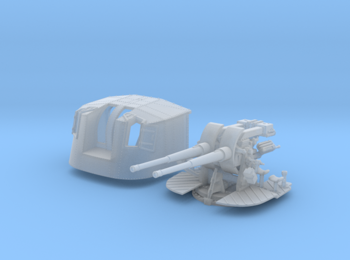 """1/144 Tribal Class 4.7"""" MKXII CPXIX Twin Mount x1 3d printed 1/144 Tribal Class 4.7"""" MKXII CPXIX Twin Mount"""