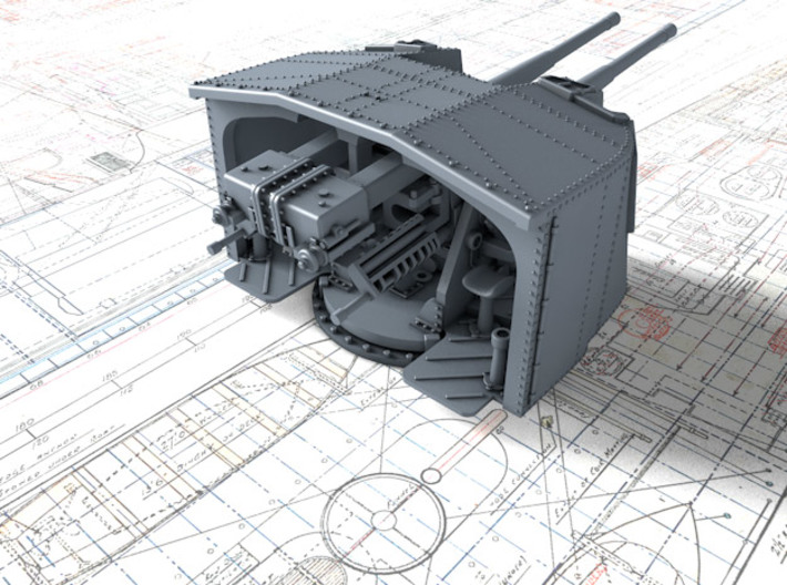 """1/144 Tribal Class 4.7"""" MKXII CPXIX Twin Mount x1 3d printed 3d render showing product detail"""