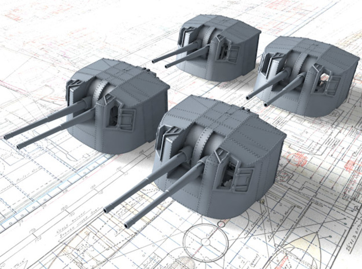 "1/144 Tribal Class 4.7"" MKXII CPXIX Twin Mounts x4 3d printed 1/144 Tribal Class 4.7"" MKXII CPXIX Twin Mounts x4"