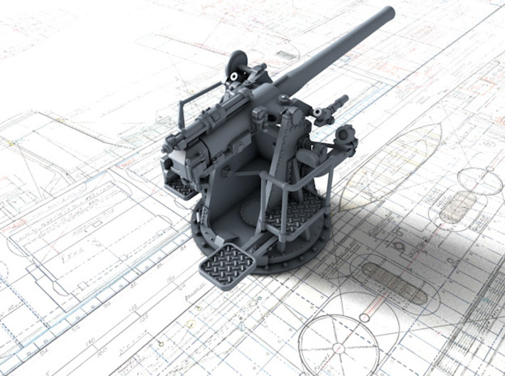 """1/72 RN 4""""/45 (10.2 cm) QF MKV MKIII x2 3d printed 3d render showing product detail"""