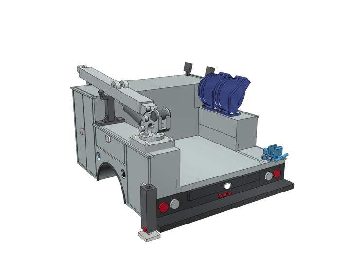 Pickup Truck Service Bed With Crane 1-87 HO Scale 3d printed