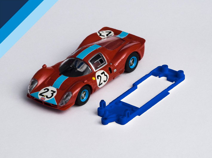 1/32 Scalextric Ferrari P4 Chassis for Slot.it SW 3d printed Chassis compatible with Scalextric / SuperSlot Ferrari 330 P4 or 412P body (not included)