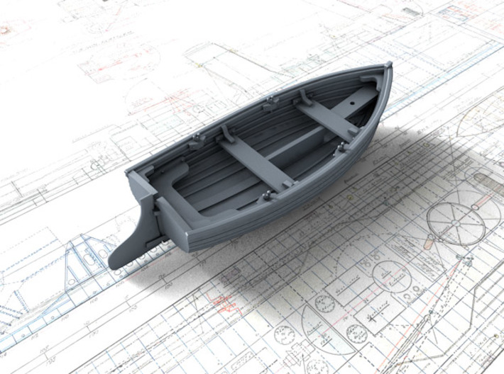 1/96 Scale Allied 10ft Dinghy with Rudder 3d printed 1/96 Scale Allied 10ft Dinghy with Rudder