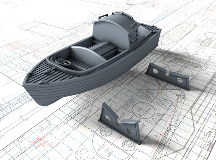 1/96 Royal Navy 16ft Fast Motor Boat 3d printed 3d render showing separate Mounts