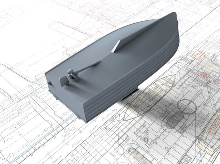 1/96 Royal Navy 16ft Fast Motor Boat 3d printed 3d render showing underside detail