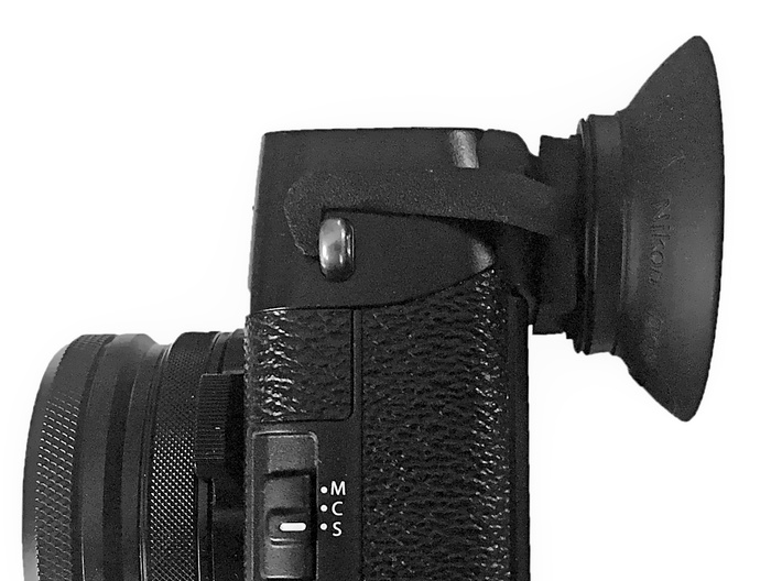 Eyecup adapter for X100F 3d printed Camera with adapter and Eyecup attached. Image by www.dannourieimages.com