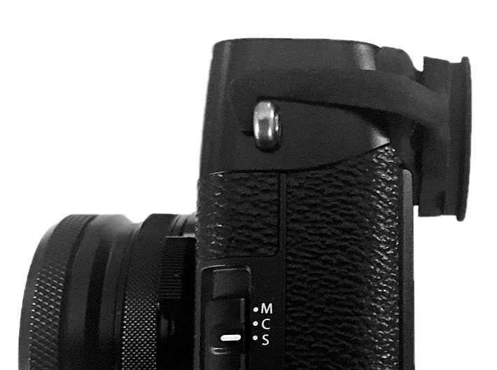 Eyecup adapter for X100F 3d printed Camera with adapter attached. Image by www.dannourieimages.com