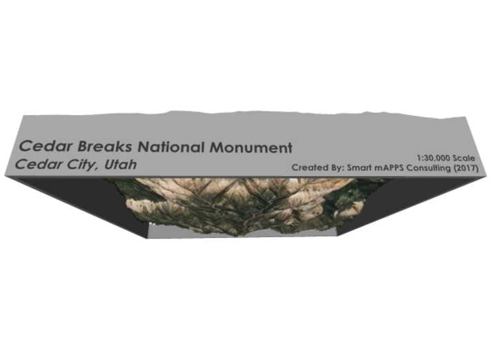 Cedar Breaks National Monument Map, Utah 3d printed