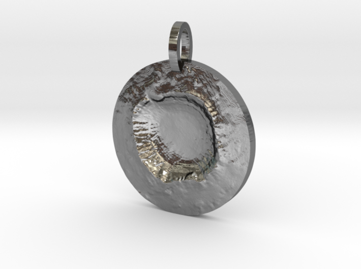 Meteor Crater Map Pendant, Circle Cut 3d printed