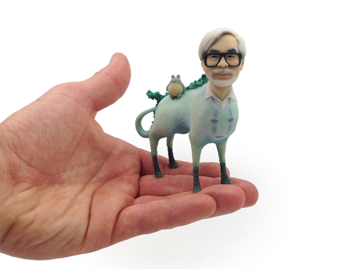 The Hiyatoro Miyazaki Spirit 3d printed This is the actual Full Color Sandstone 3D-print, shown in my hand for scale.