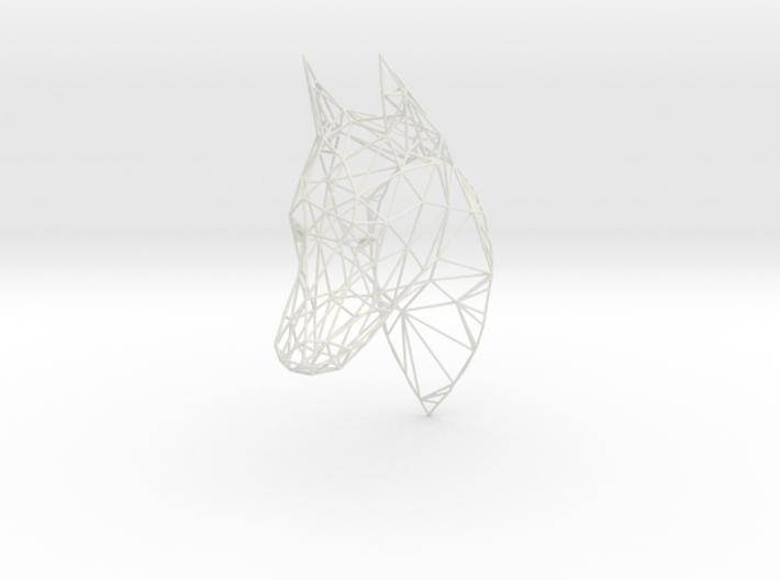 Wireframe Doberman head 3d printed